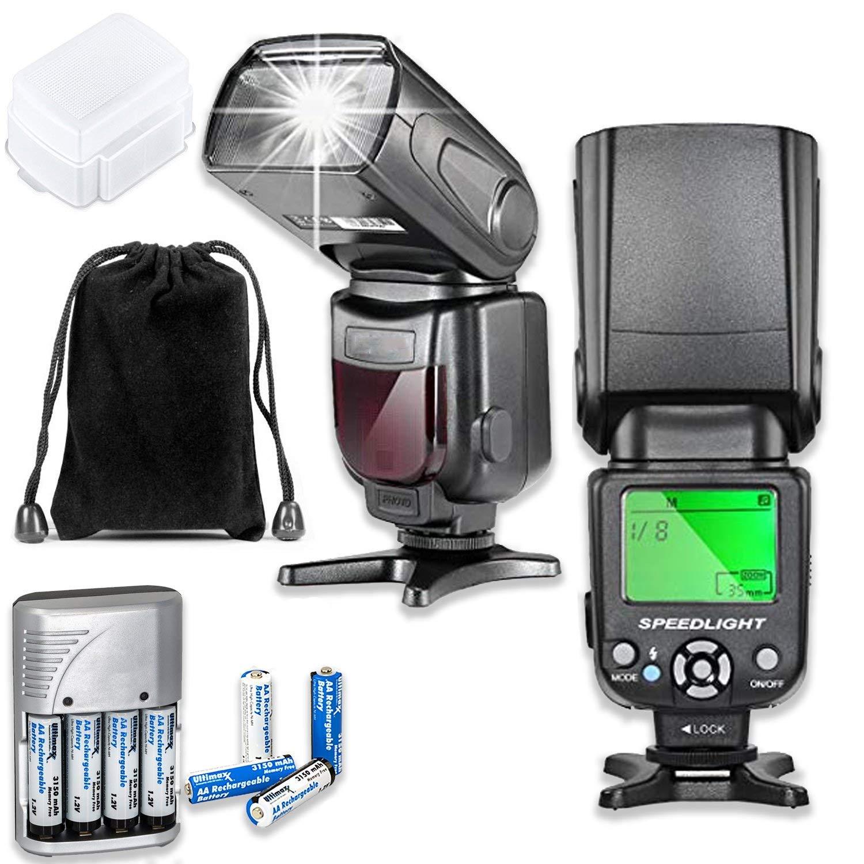 Nikon D5、D4S、DF、D4、D850、D810、D800、D850、D750、D700、D610、D500、D300、D90、D7200、D7500、D7100、D5600、D5500、D5300、D5200、D3400デジタル一眼レフカメラ用完全専用自動TTLフラッシュ   B07PGBNS3L
