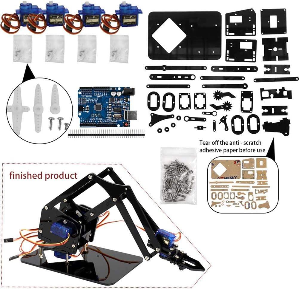 DIY Robot Hand Mechanical Arm Robot Claw Set Suitable for SG90 UNO Desktop DIY Kit,Black
