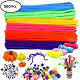 500Pcs Pipe Cleaners Craft Set,Including 100 Pcs Chenille Stems 200 Pcs Pom Poms Craft 200 Pcs Wiggle Googly Eyes Self Adhesi