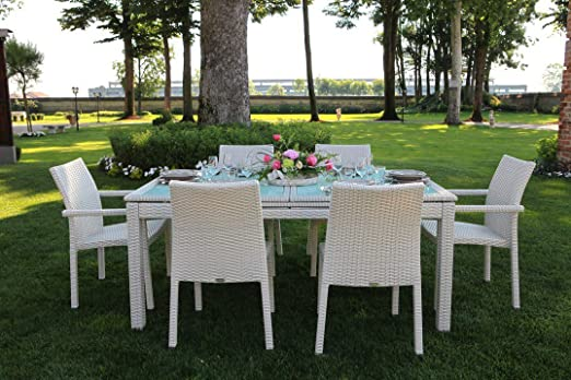 Tavoli Da Esterno Rattan Sintetico.Luxurygarden Set Tavolo Da Pranzo Estensibile Allungabile 6