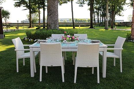 Mobili Da Giardino In Rattan : Luxurygarden set tavolo da pranzo estensibile allungabile 6 posti