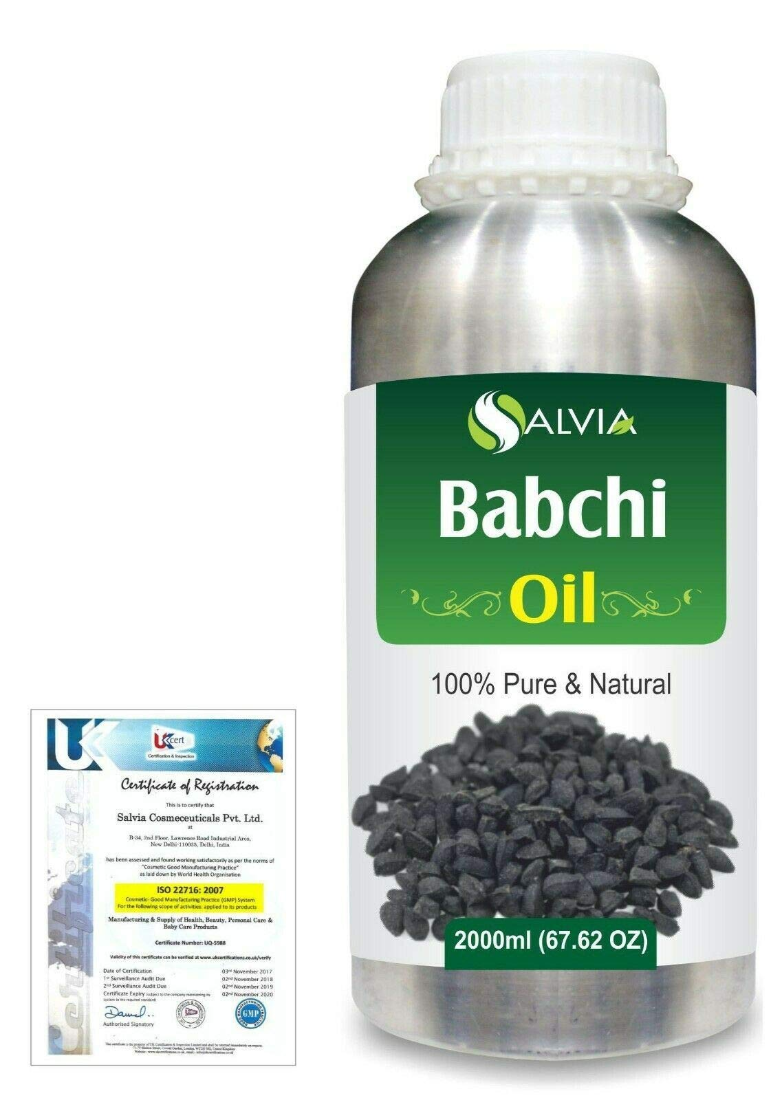 Babchi (Psoralea Corylifolia) Pure Natural Aromatherapy Therapeutic Uncut Undiluted Carrier Oil 2000ml/67.6 fl. oz. Express Shipping