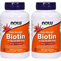 Now Foods Biotin 10 mg Extra Strength 120 Vcaps, Pack of 2