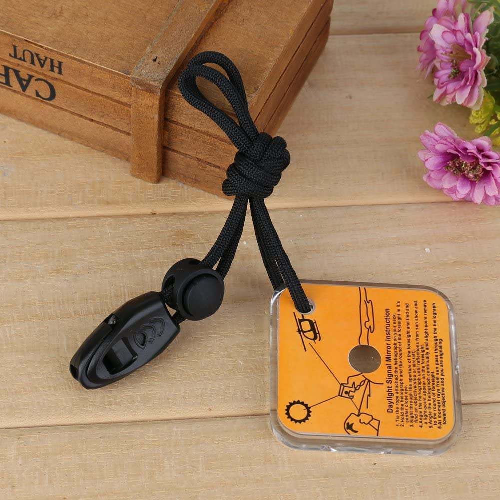 Practical Outdoor Emergency Survival Reflective Signal Mirror Whistle S2L9