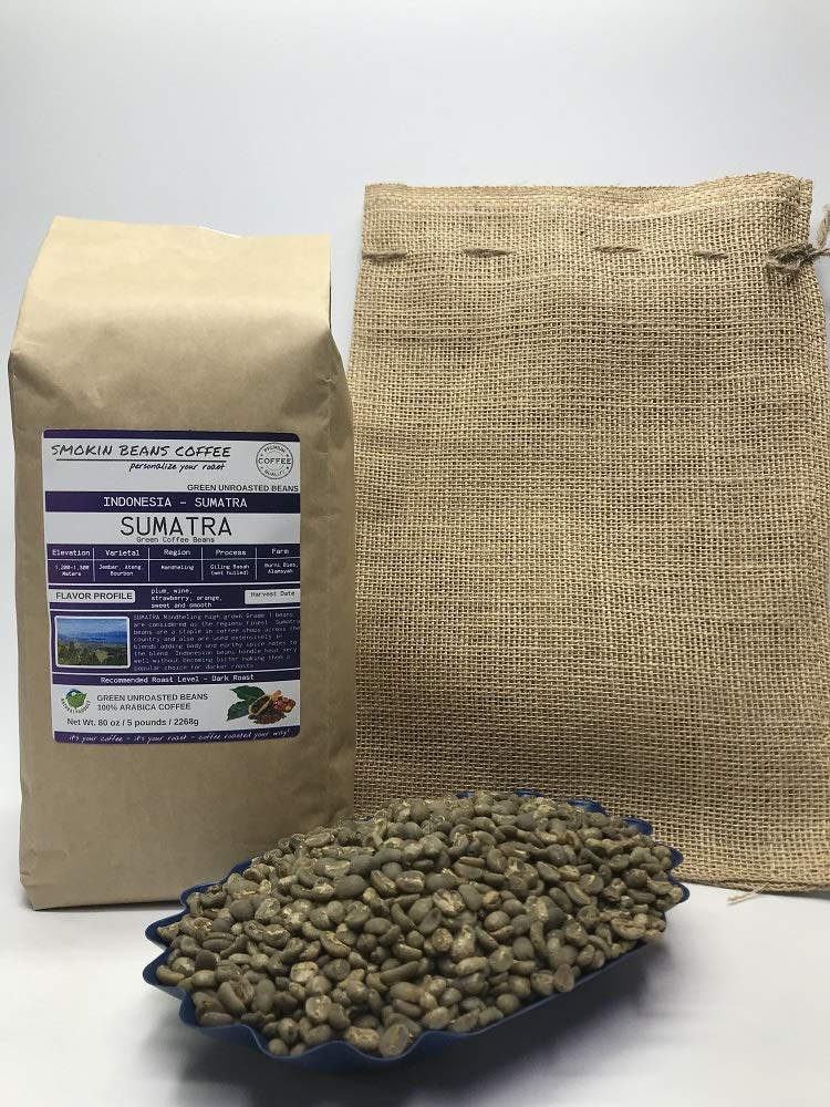 5 Pounds - Indonesian - Sumatra - Unroasted Arabica Green Coffee Beans - Grown In Region Mandheling - Altitude 1200-1300M - Jember, Ateng, Bourbon - Drying/Milling Is Wet Hulled - Includes Burlap Bag by Smokin Beans