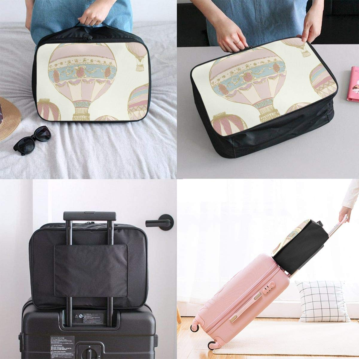 Travel Luggage Duffle Bag Lightweight Portable Handbag Hot Air Balloons Large Capacity Waterproof Foldable Storage Tote