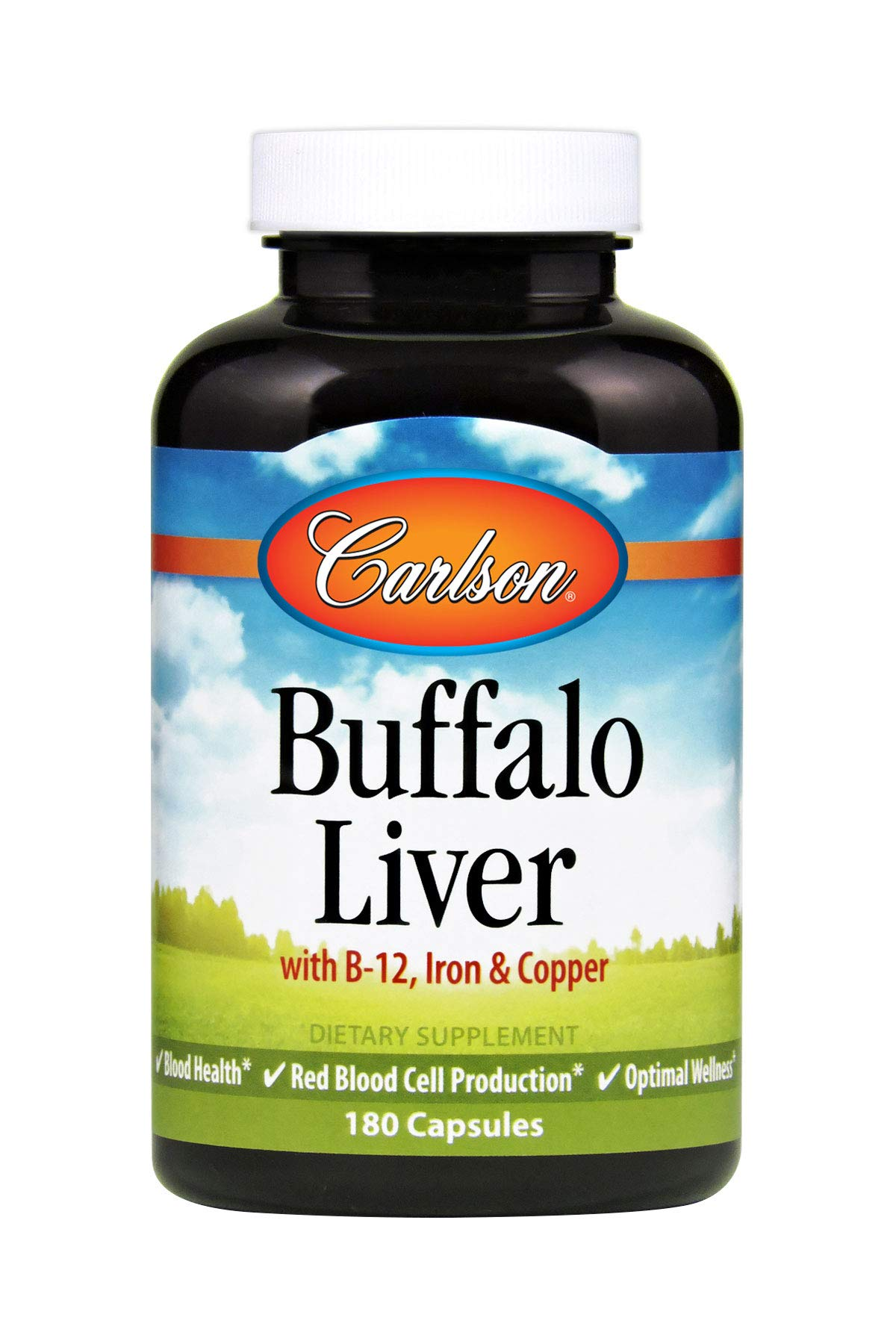 Carlson Buffalo Liver, Blood Health, 180 Capsules