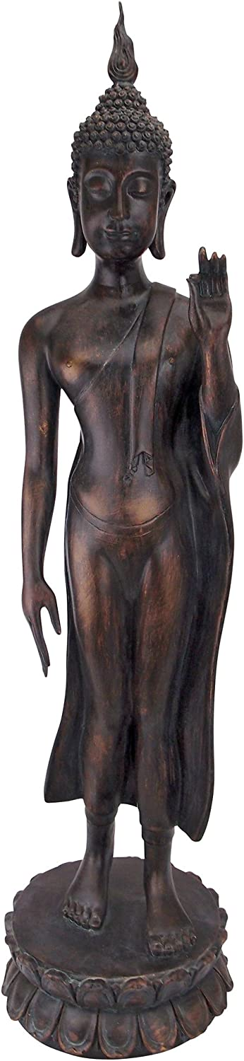 Design Toscano JQ9633 Free from Fear Standing Buddha Statue, Gold