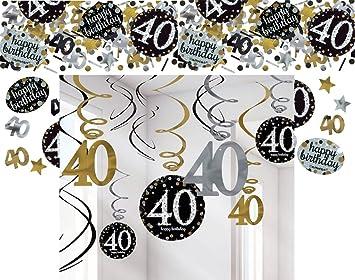 Feste Feiern Party Deko 40 Geburtstag 13 Teile Dekoration Deckenhanger Swirl Tischkonfetti Gold Schwarz Silber Metallic Tischdeko Happy Birthday 40 Amazon De Spielzeug