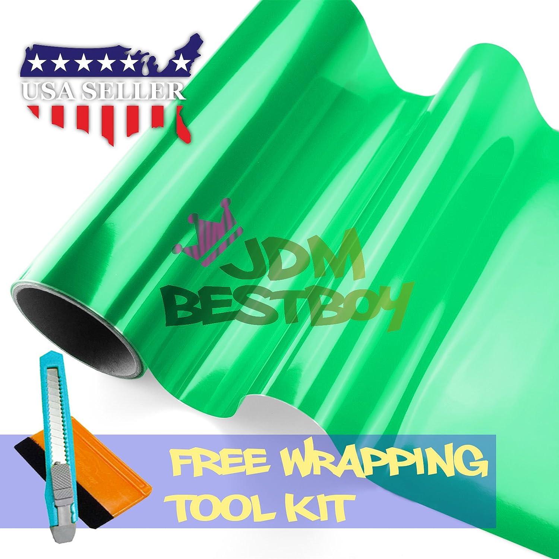 Free Tool Kit 12x60 (1FT x 5FT) Glossy Emerald Green Tint Headlight Fog Lights Taillight Smoke Vinyl Film Self Adhesive JDMBESTBOY