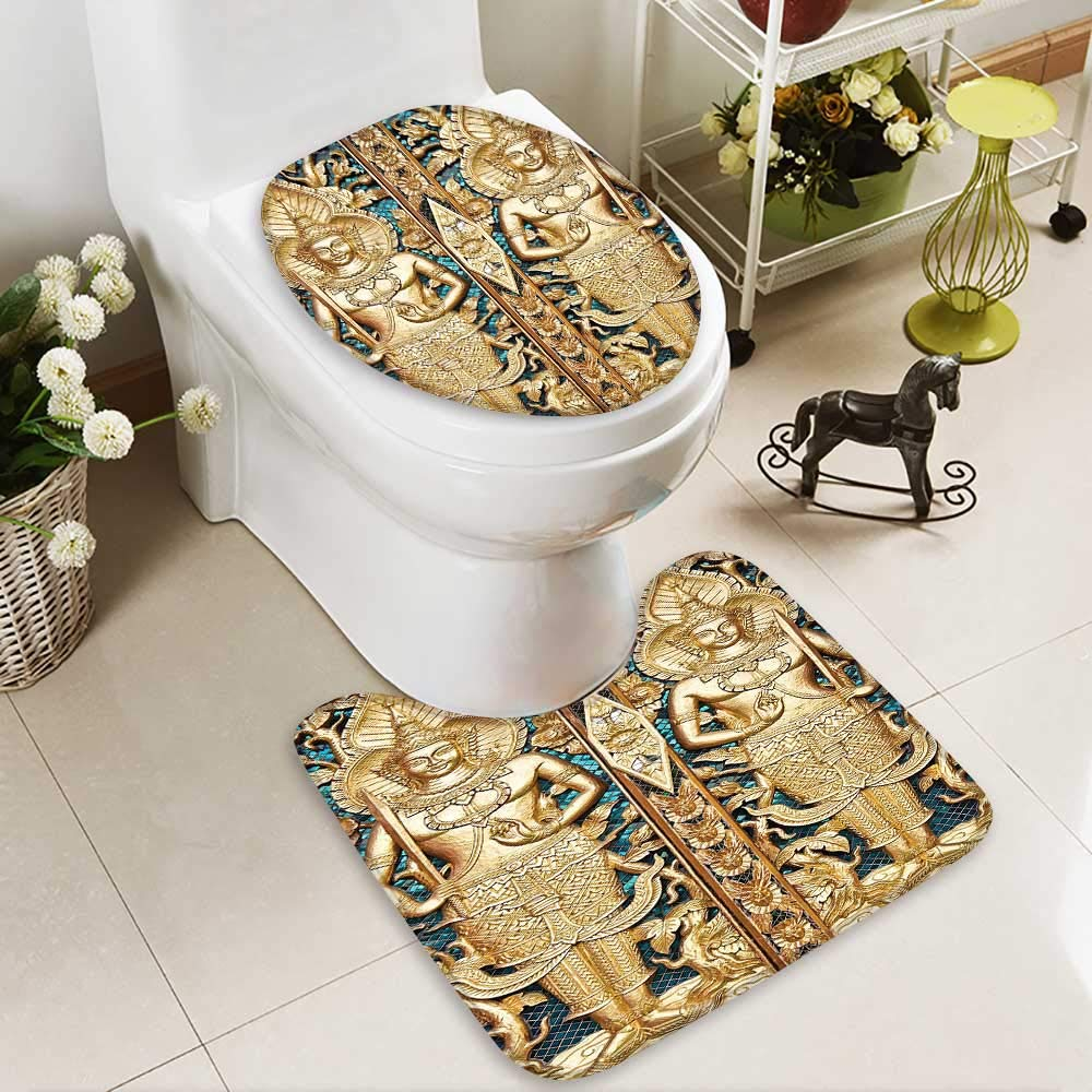 SOCOMIMI 2 Piece Anti-Slip mat Set Collection Thai Gate at Wat Sirisa Tong Thailand Buddhism Architecture History Spiritual Picture Printed Rug Set