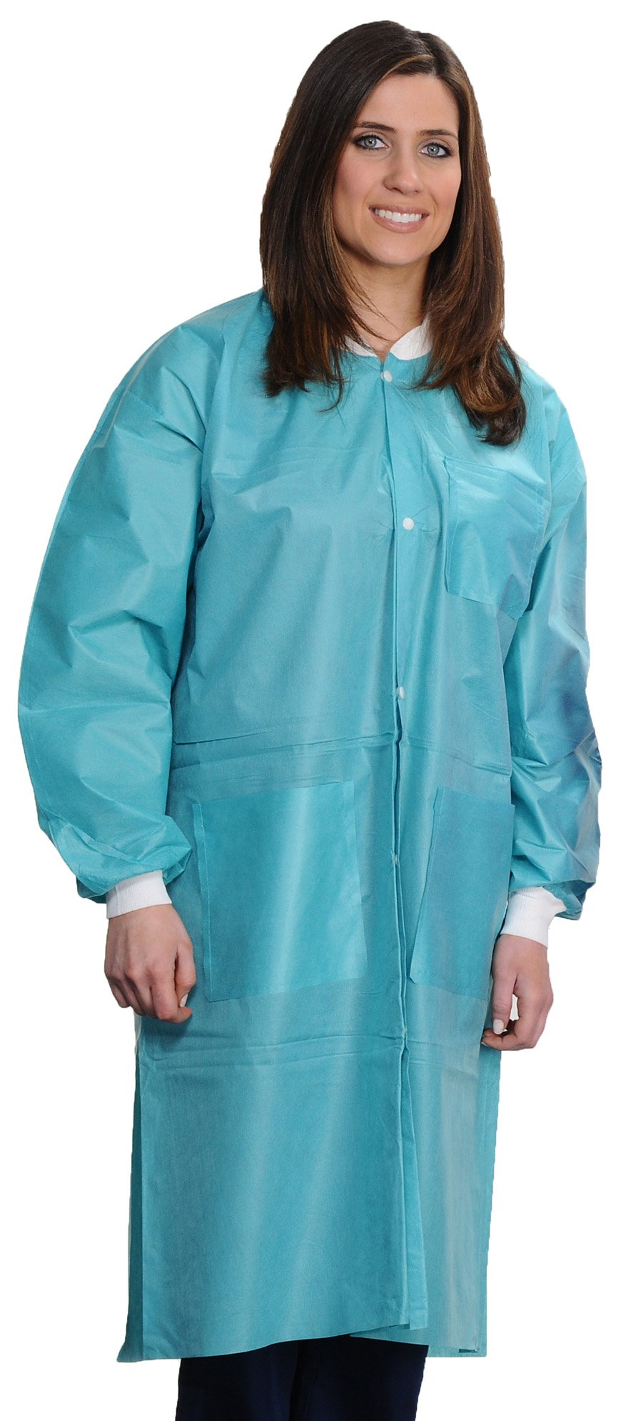 ValuMax 3560TE5XL Easy Breathe Cool and Strong, No-Wrinkle, Professional Disposable SMS Knee Length Lab Coat, Teal, 5X-Large, Pack of 10
