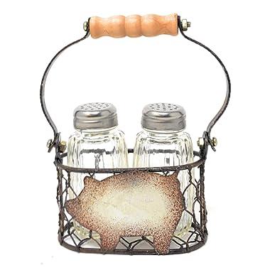 Happy Pig Kitchen Decor Salt and Pepper Shakers Set in Vintage Look Chicken Wire Basket