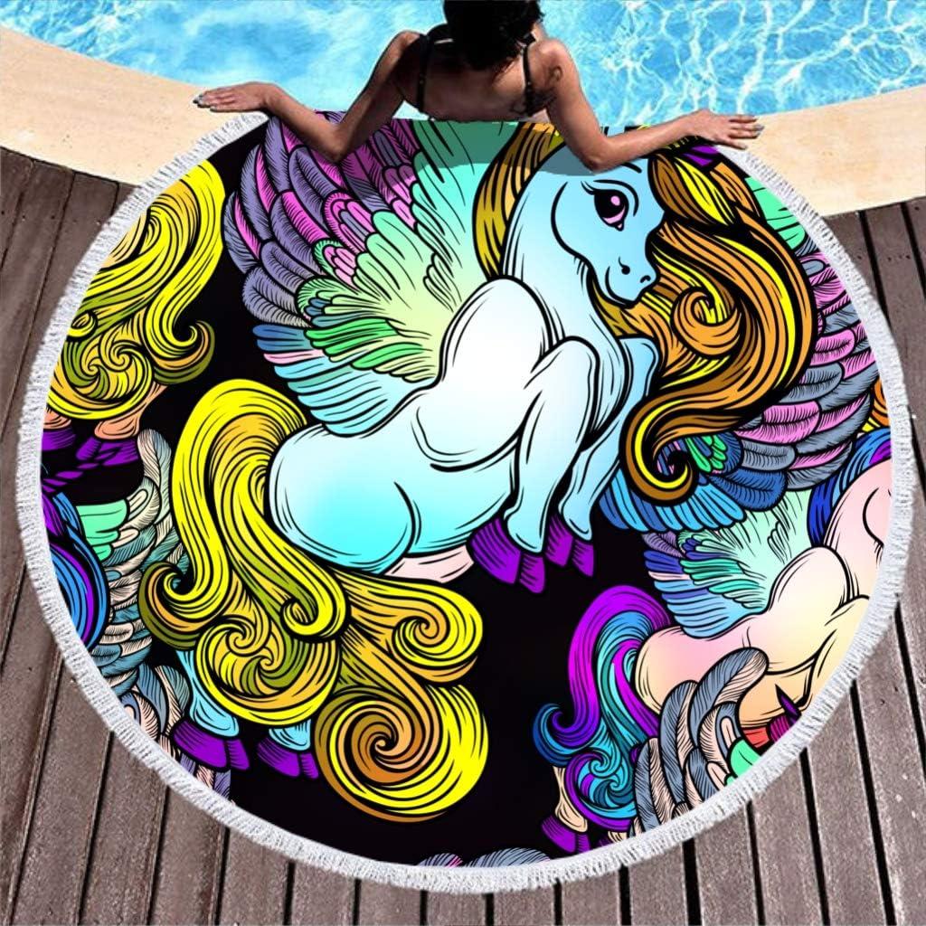 150cm Blanc N//A Licorne animale rond Grande serviette de plage avec franges Nappe ronde Suspension plafond machine /à laver 59 fibre de polyester