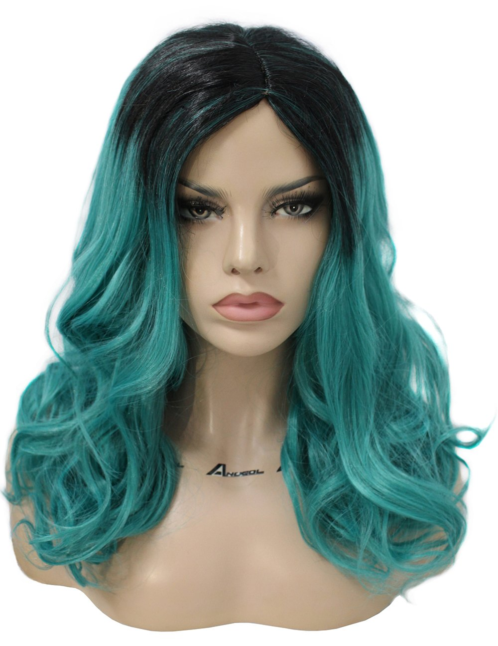Galleon Anogol Women S Fashion Curly Dark Roots Ombre Green Hair
