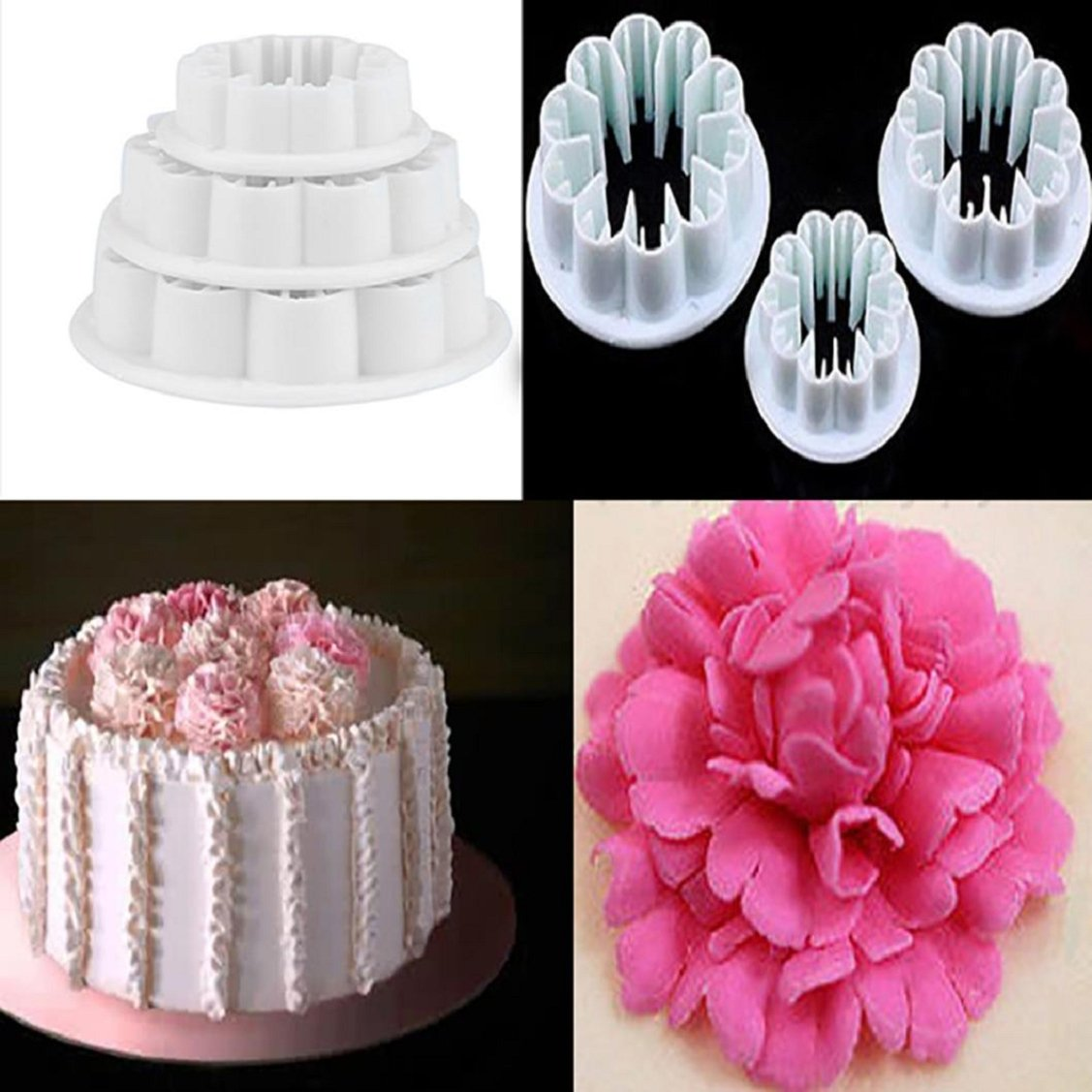 Cake Mold,Vovomay 3Pcs Decorating Carnations Flower Cake Fondant CookiePlunger Mold (White)