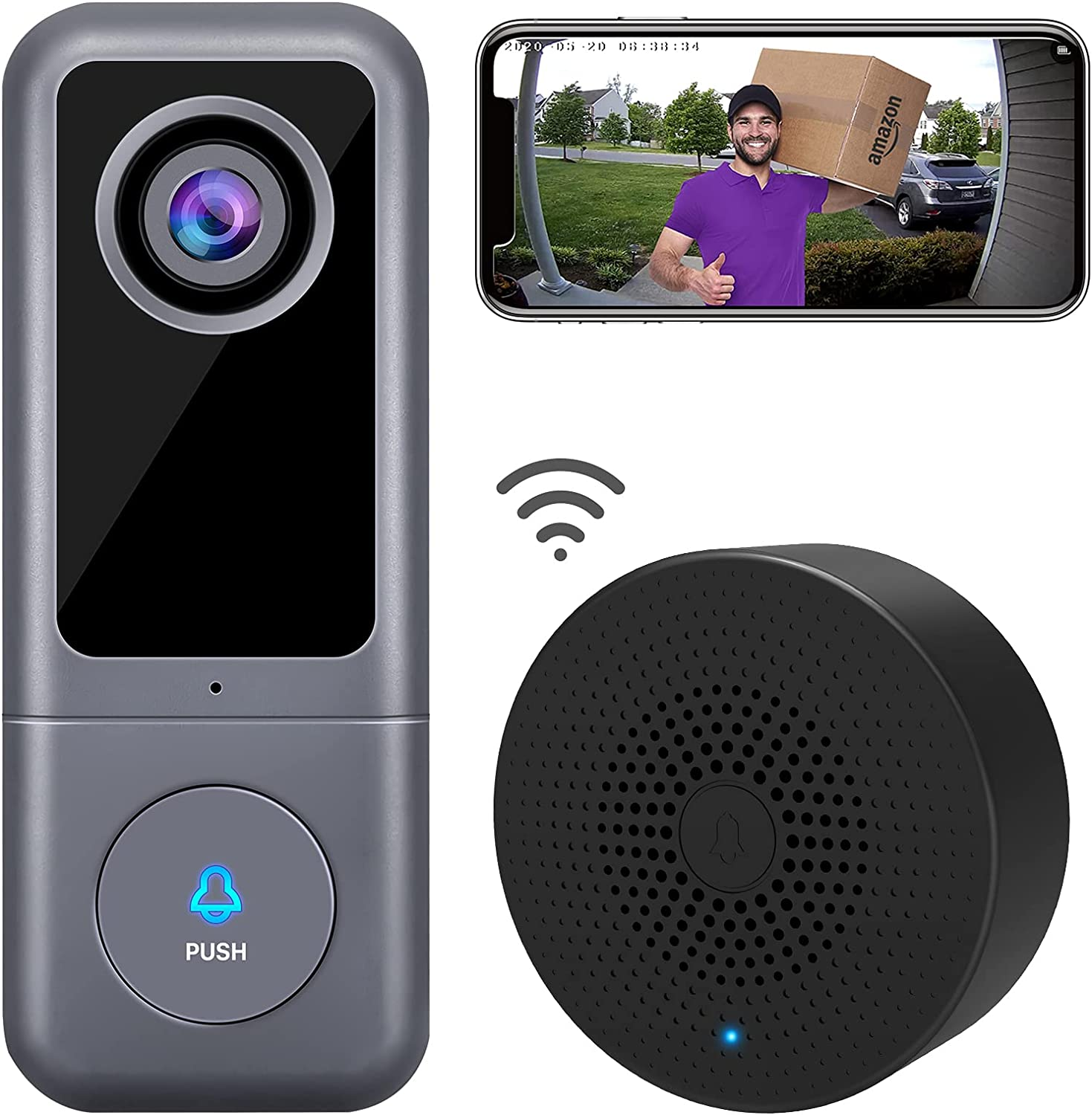 ?2021 Upgraded? WiFi Video Doorbell Camera, XTU Wired Doorbell Camera with Chime, 2K Ultra HD, 2-Way Audio, Night Vision, Easy Installation, Motion Detection, IP65 Waterproof