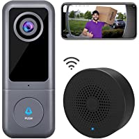 【2021 Upgraded】 WiFi Video Doorbell Camera, XTU Doorbell Camera with Chime, 2K Ultra HD, 2-Way Audio, Night Vision, Easy…