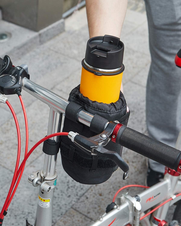 Bike Cup Holder, Bicycle Drink Cup Holder with Mesh Pocket Universal Bike Handlebar Water Bottle Holder for Cruiser Bike Scooter Mountain Road Bikes Fits 12oz-32oz Bottles