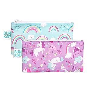 Bumkins Snack Bags, Reusable, Washable, Food Safe, BPA Free, 2-Pack – Unicorns & Rainbows