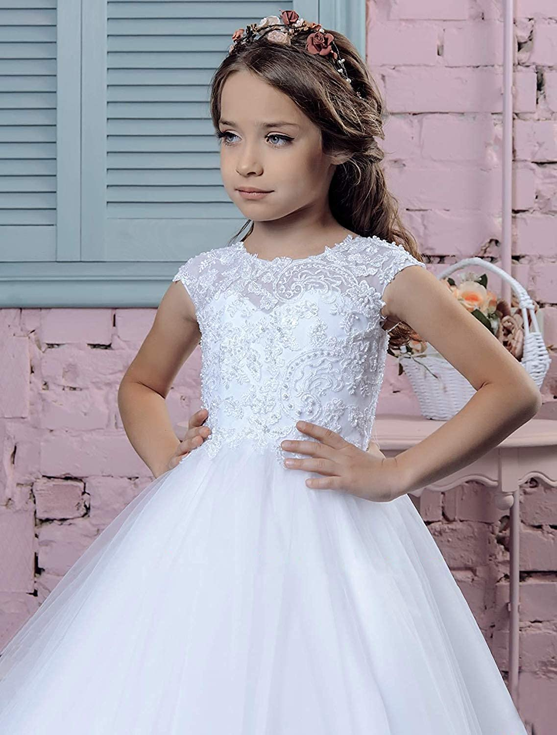 Gzcdress First Holy Communion Dress Lace Baptism Dresses for Girls 7-16 Junior Bridesmaid Wedding