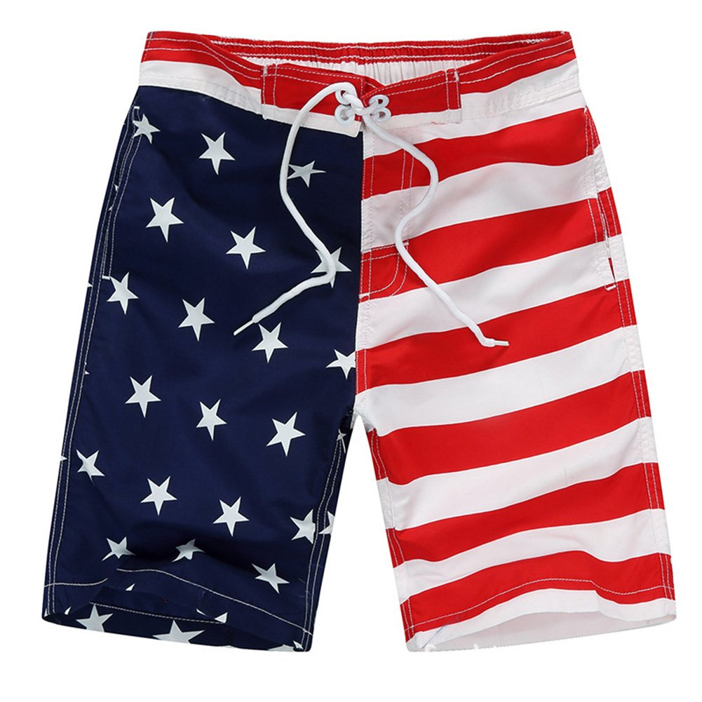 Aulase Kids Boys Classic American Flag Swim Trunks Drawstring Stripe Boardshorts White XL