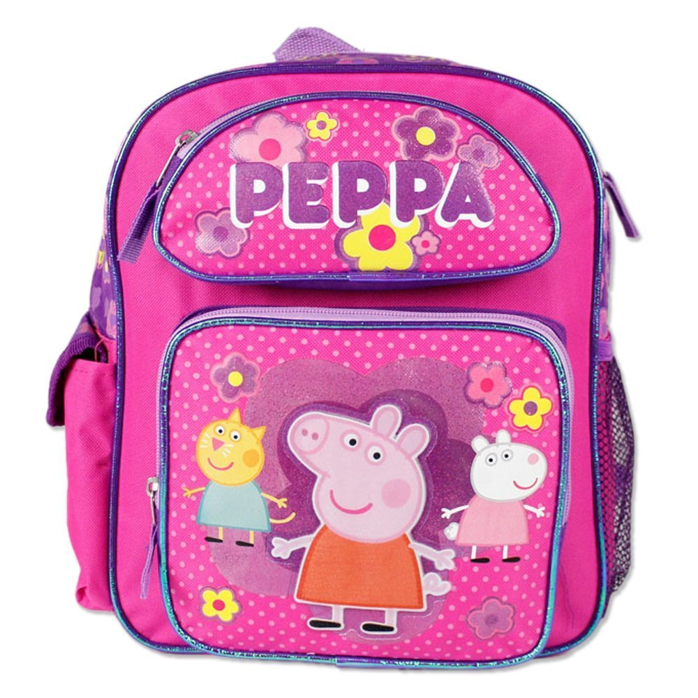 12' Peppa Pig Pink Backpack 3 Characters on the Front