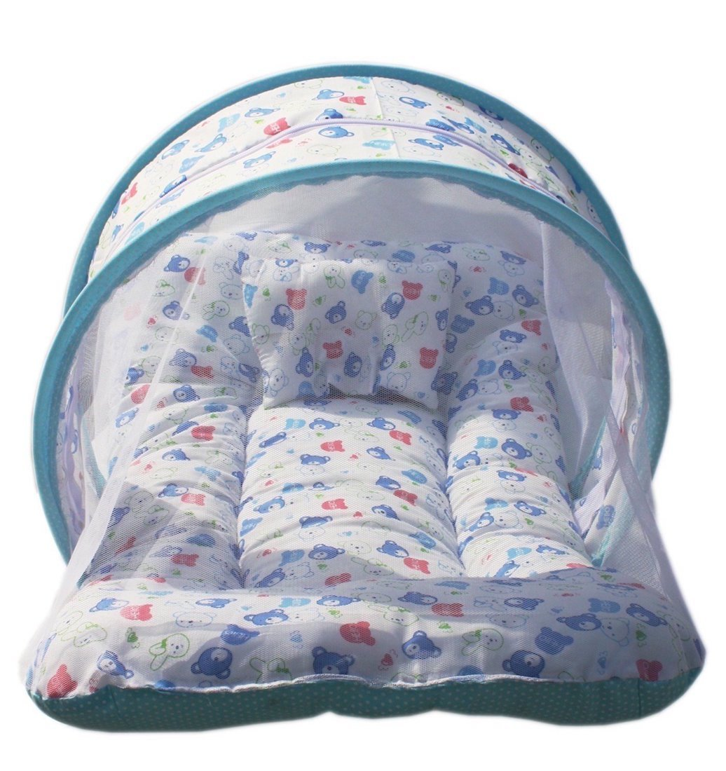 PK Baby Bedding Set Toddler Mattress with Mosquito Net & Baby Neck Pillow (Blue, 0 To 12 Month)