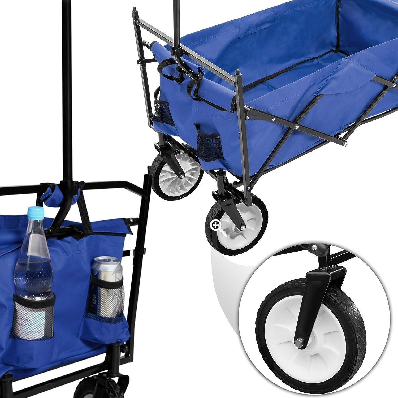 Hecktasche und extra Tragetasche Blau | Nr. 402316 Diverse Farben - TecTake Faltbarer Bollerwagen mit Dach inkl