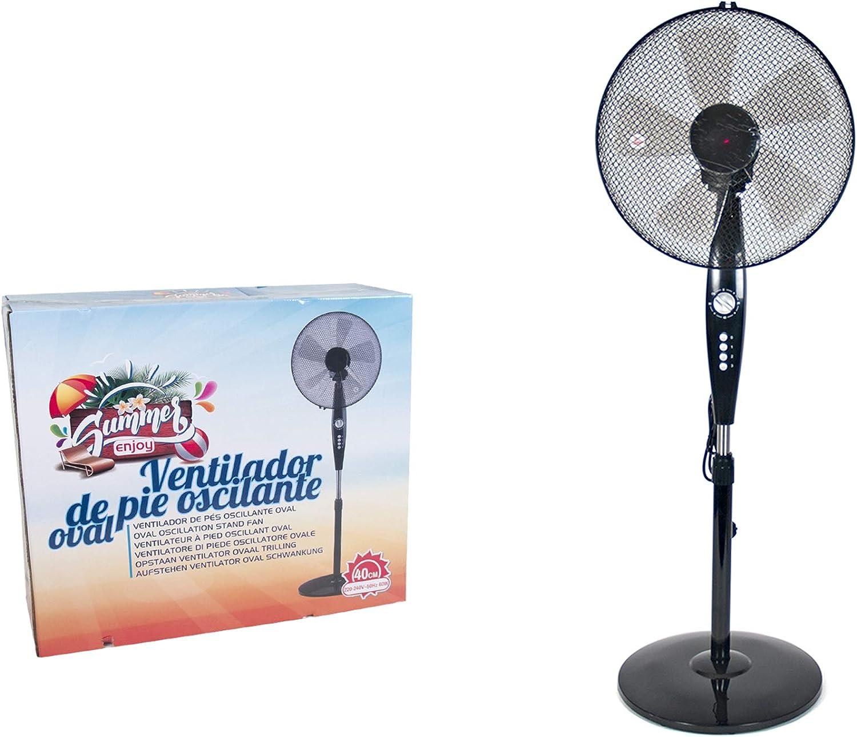 Ventilador portátil, 40 cm, 60 W, 1,25 m de altura, 3 velocidades, con temporizador, color negro