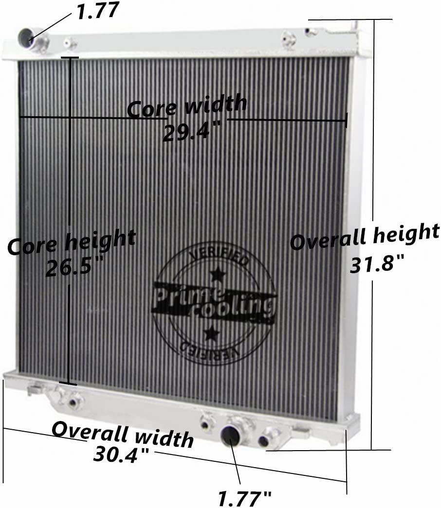 6.8L 7.3L Powerstroke Engine 1999-05 Prime Cooling CHAOGSXH-FORD-2116 F-450 Primecooling 3 Row Core Aluminum Radiator for Ford F-250 F-350 Super Duty//Excursion