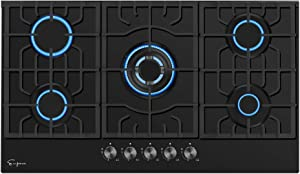 "Empava 30"" Gas Stove Cooktops 5 Italy Sabaf Sealed Burners NG/LPG Convertible EMPV-30GC26, Black Tempered Glass"