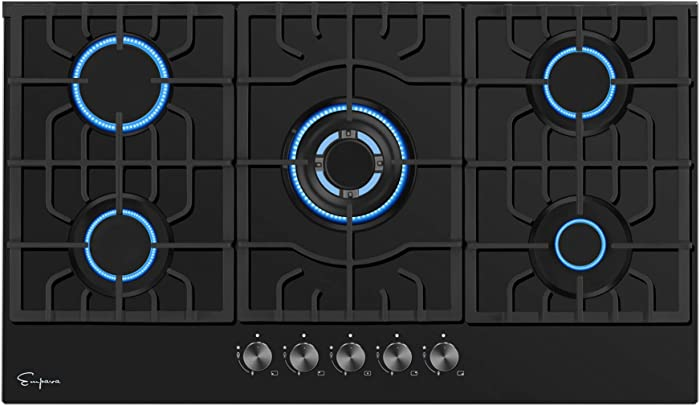 "Empava 30"" Gas Stove Cooktops 5 Italy Sabaf Sealed Burners NG/LPG Convertible EMPV-30GC26, Black Tempered Glass"