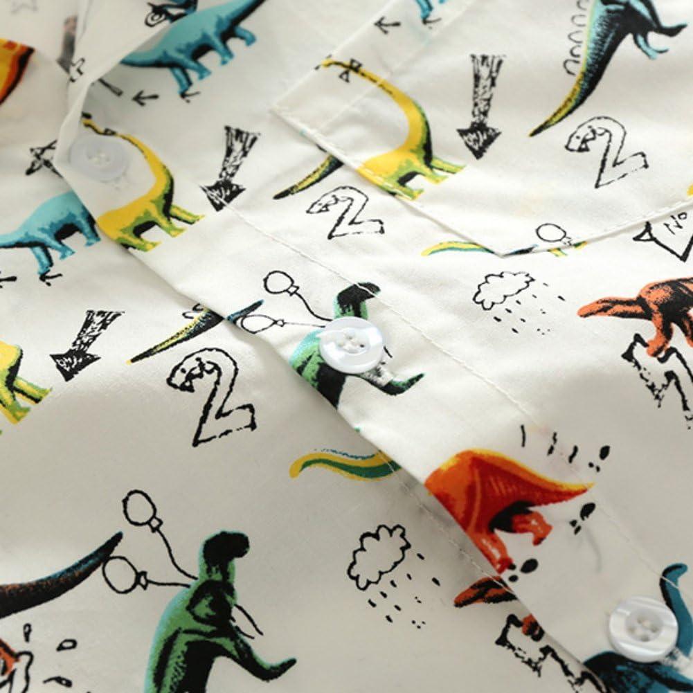 BOBORA Camisa Polo con Estampado de Dinosaurio de Manga Corta de Verano para Ni/ños 1-6A/ños