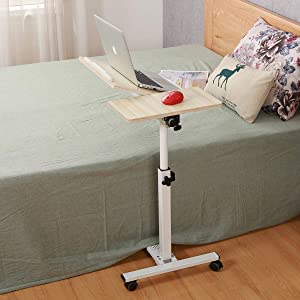 Tilting Overbed Table with Wheels Rolling Laptop Table Overbed Desk Rolling Laptop Stand Over Bed Desk Rolling Laptop Desk with Wheels (WhiteMaple)