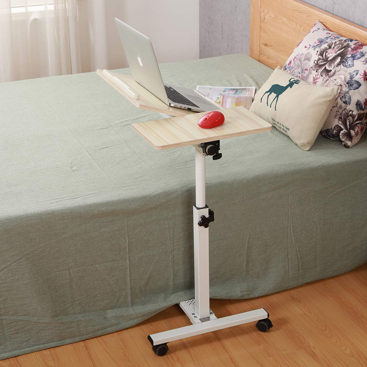 Tilting Overbed Table with Wheels Rolling Laptop Table Overbed Desk Rolling Laptop Stand Over Bed Desk Rolling Laptop Desk with Wheels (WhiteMaple) by TigerDad