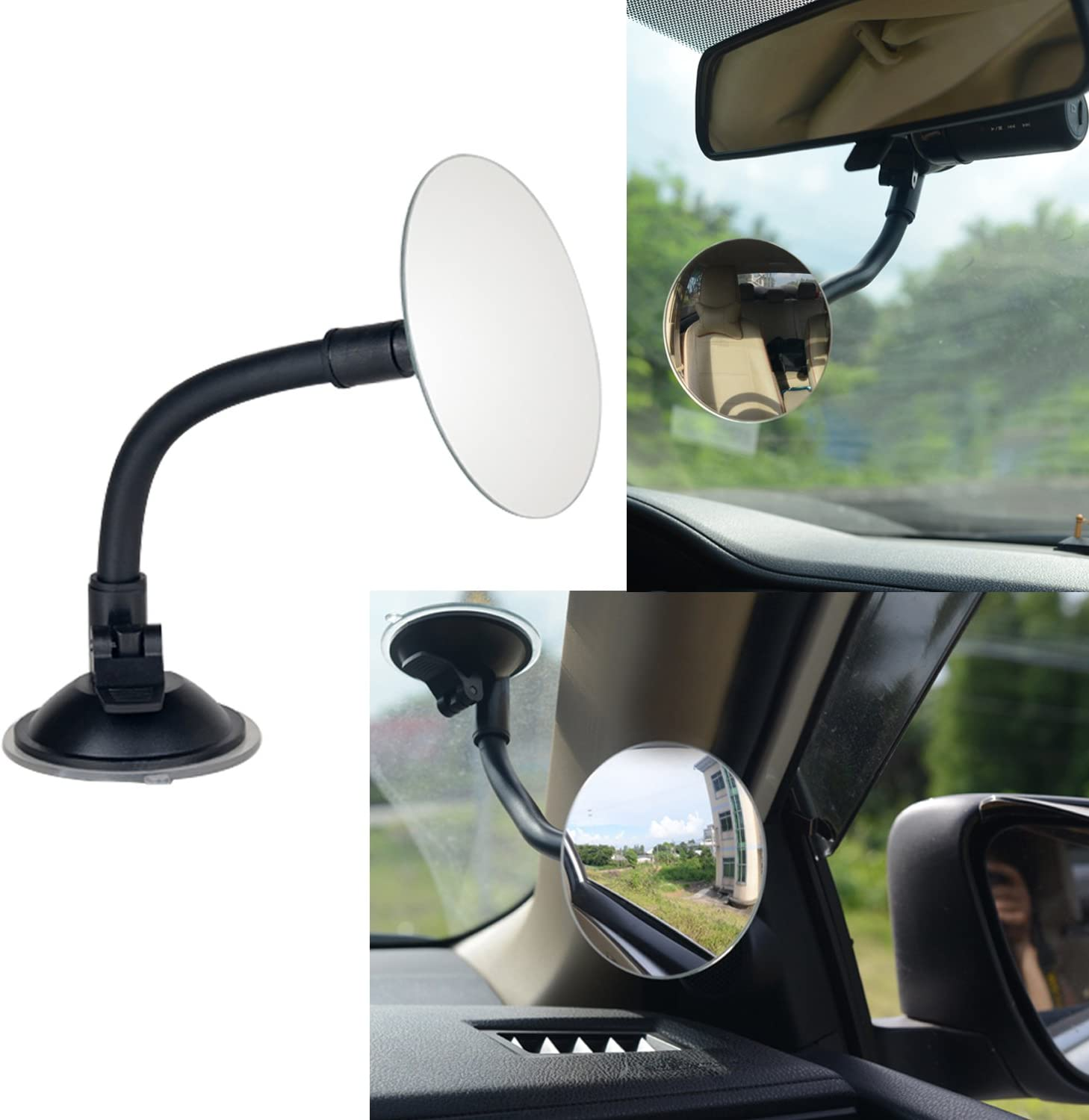 "3.35"" Round Blind Spot Mirror/Rear Facing Mirror, Ampper 360?? Rotate Adjustabe Suction Cup/Long Arm HD Glass Convex Wide Angle Rear View Universal Fit Lens"