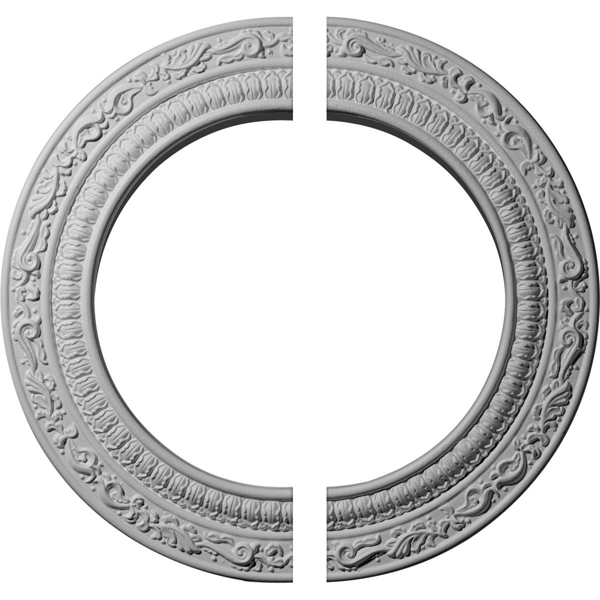 Ekena Millwork CM12AD2 12'' OD ID x 1/2'' P Andrea Ceiling Medallion, Two Piece (Fits Canopies up to 8''), Factory Primed and Ready to Paint