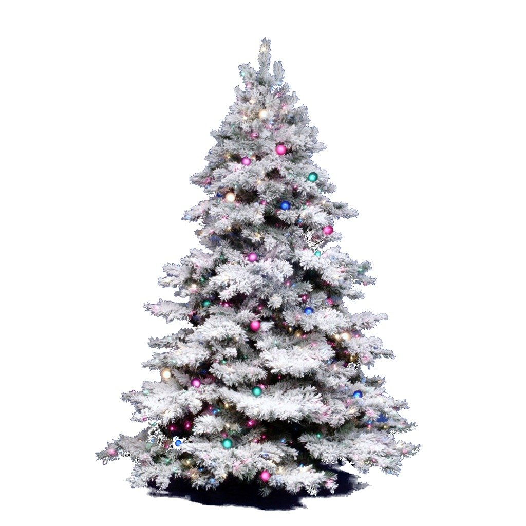 Amazon.com: Vickerman Flocked Alaskan Tree with Dura-Lit 300, 4.5 ...