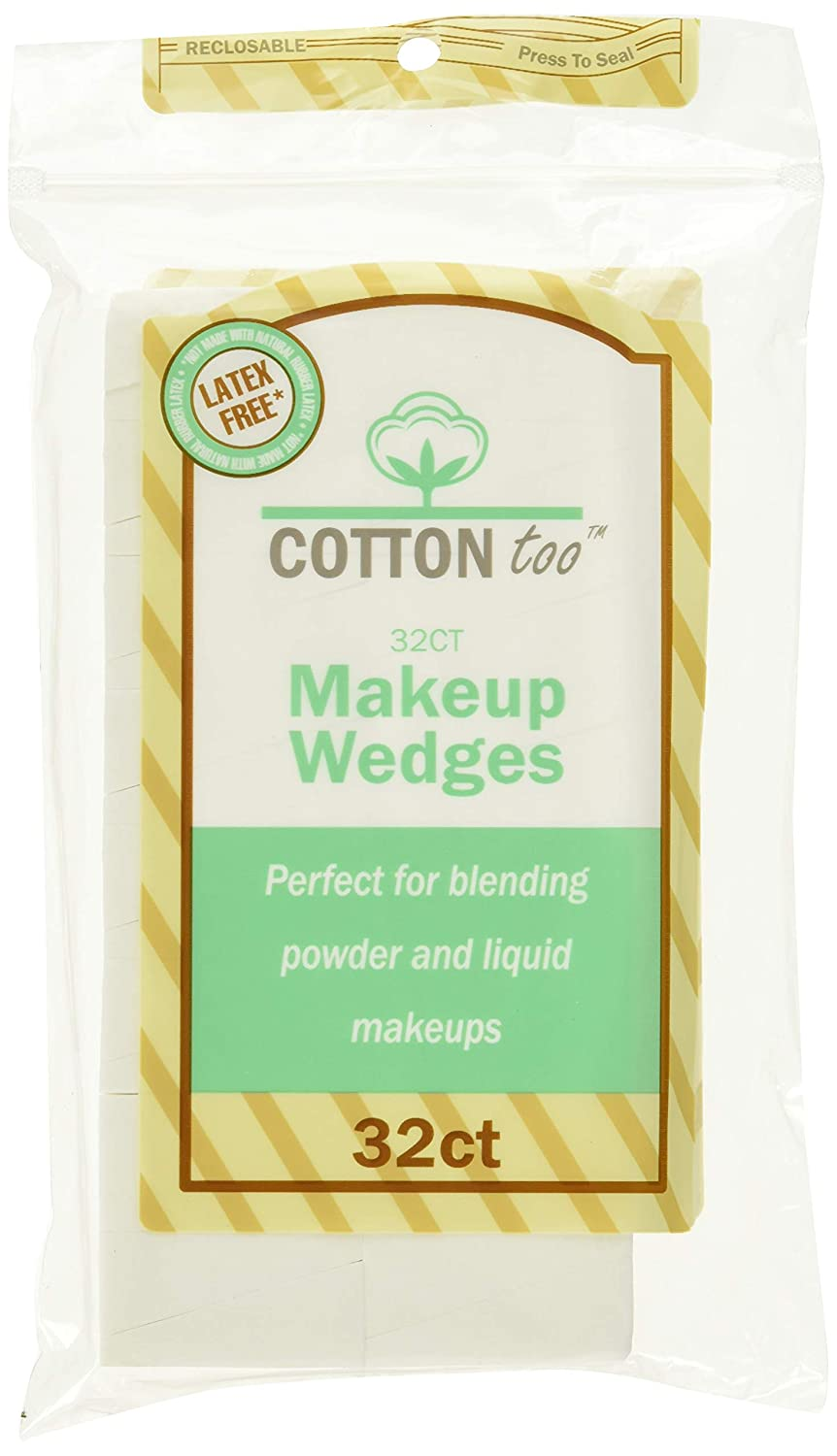 Cotton Too Premium 32 Count Latex-free Cosmetic Wedges, 6 Pack : Beauty