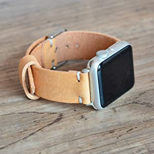 Apple Watch Band 38mm 42mm 40mm 44mm Natural Nude Full Grain Leather Wristband Handmade Personalized Custom iWatch 4 Strap Men Women Sport Series 3 4 5 6 SE