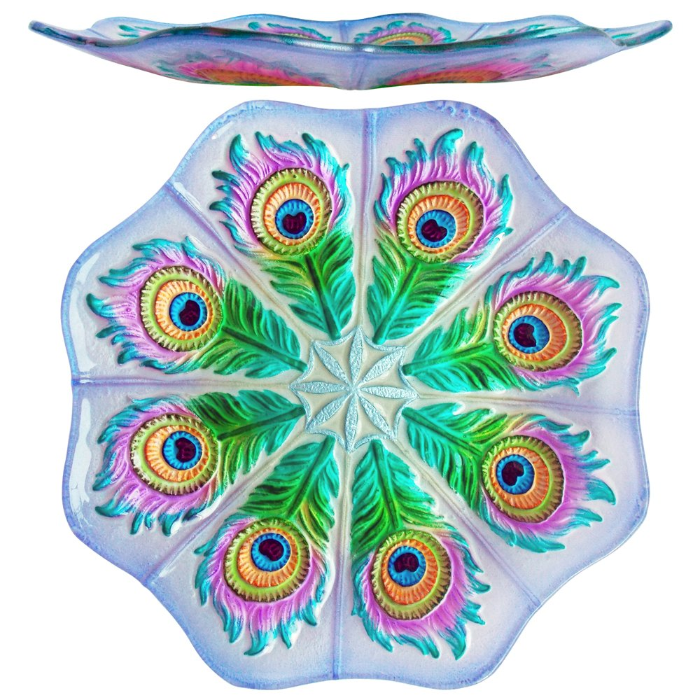 Comfy Hour 13'' Decorative Peacock Tail Feather Glass Plate, Dishwasher Safe, Multi Color