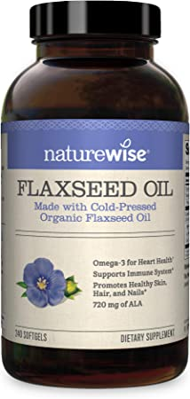 NatureWise Organic Flaxseed Oil Max 720mg ALA   Highest Potency Flax Oil Omega 3 for Cardiovascular, Brain, Immune Support & Healthy Hair, Skin, & Nails   Gluten Free Non-GMO [4 Month - 240 Softgels]