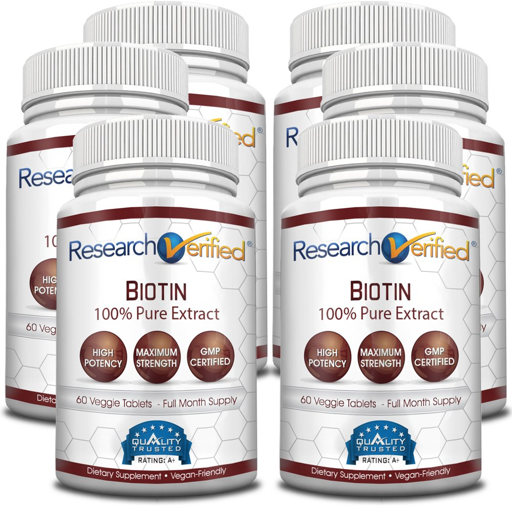 Research Verified Biotin – Pure Biotin Extra Strength 10,000mcg for Improved Hair, Skin and Nail Health - 360 Vegan Capsules, Made in USA