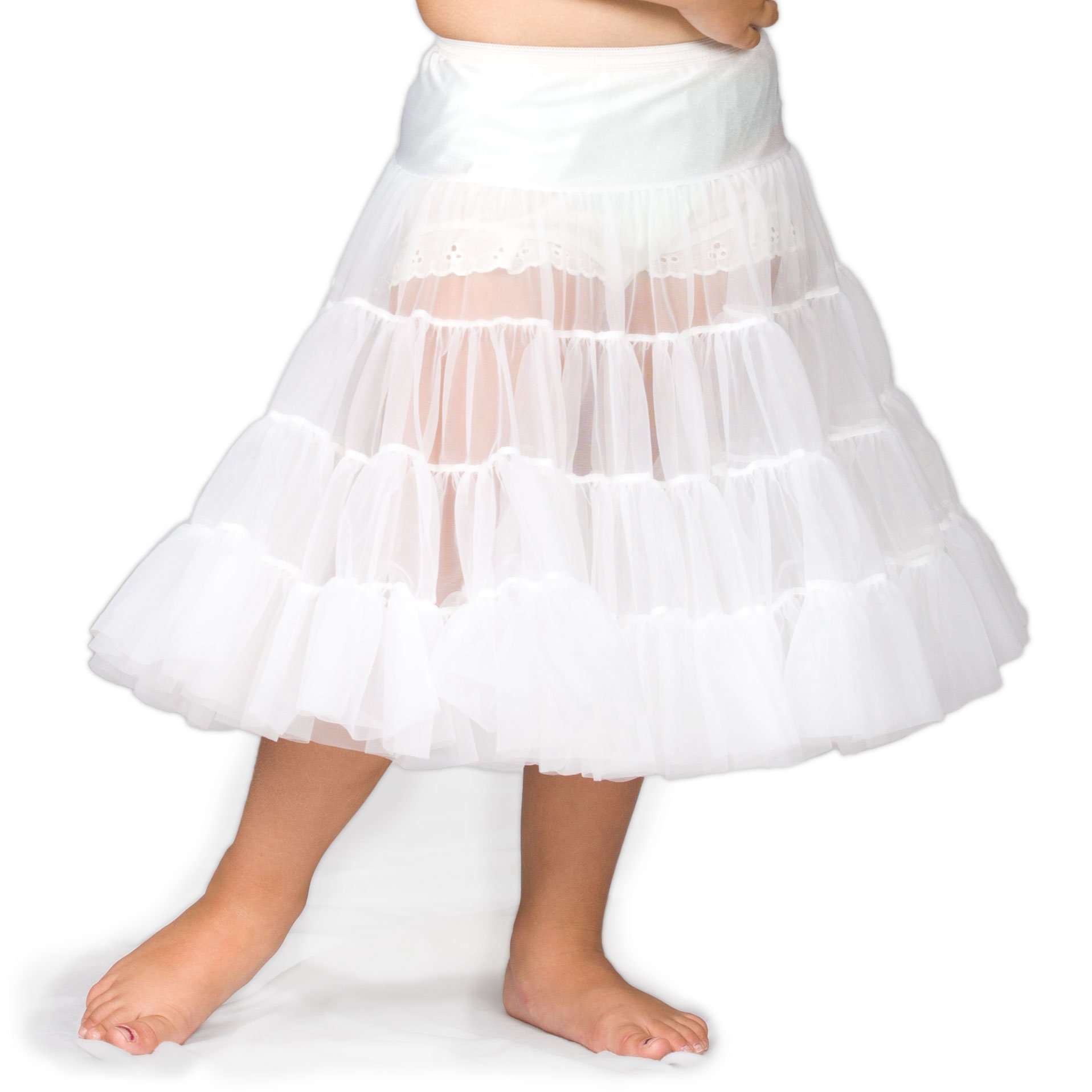 I.C. Collections Little Girls White Bouffant Half Slip Petticoat Tea Length, 2T