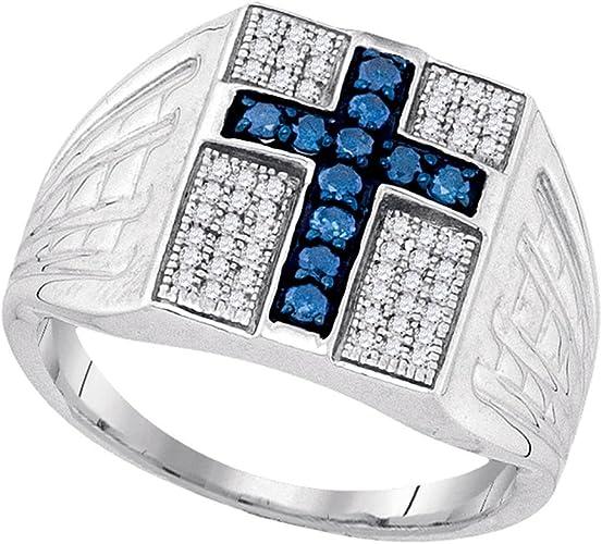 Sterling Silver Diamond Mens Cross Fashion Ring 1//5 ct