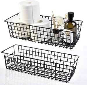 Wire Storage Baskets, 2 Pack Farmhouse Metal Wire Rustic Toilet Paper Basket, Food Organizer Bins with Handles for Kitchen Cabinets, Pantry, Closets, Bedrooms, Bathrooms, Office, Garage (Black)