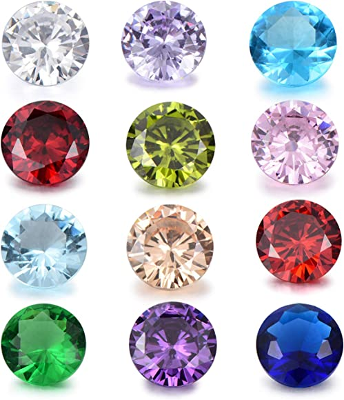 12 Lot Crystal Birthstones 5mm Round Charms for Living Floating Memory Lockets