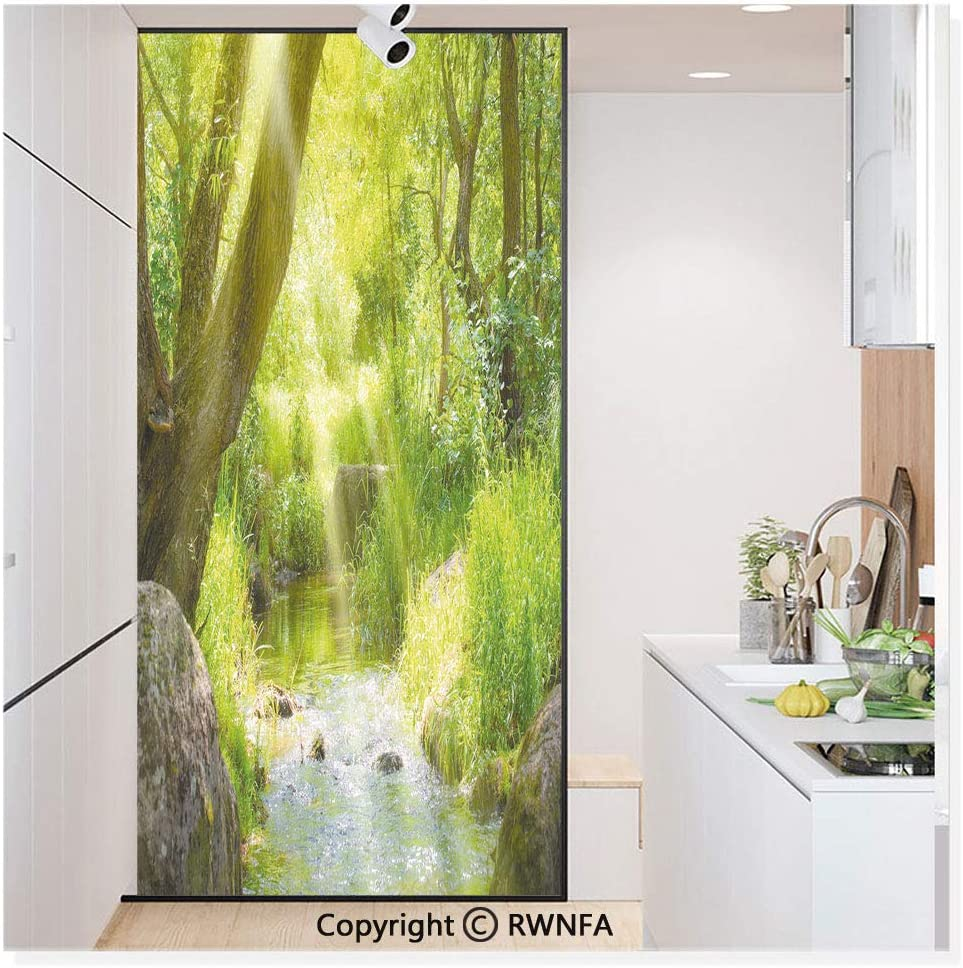 Película de vidrio sin pegamento para ventana, adhesivo de papel estático para privacidad, decoración de puerta, pintura al óleo, vista otoñal, bosque, moderno, impresionismo, arte impresión, no adhesivo, mural para cocina, baño,