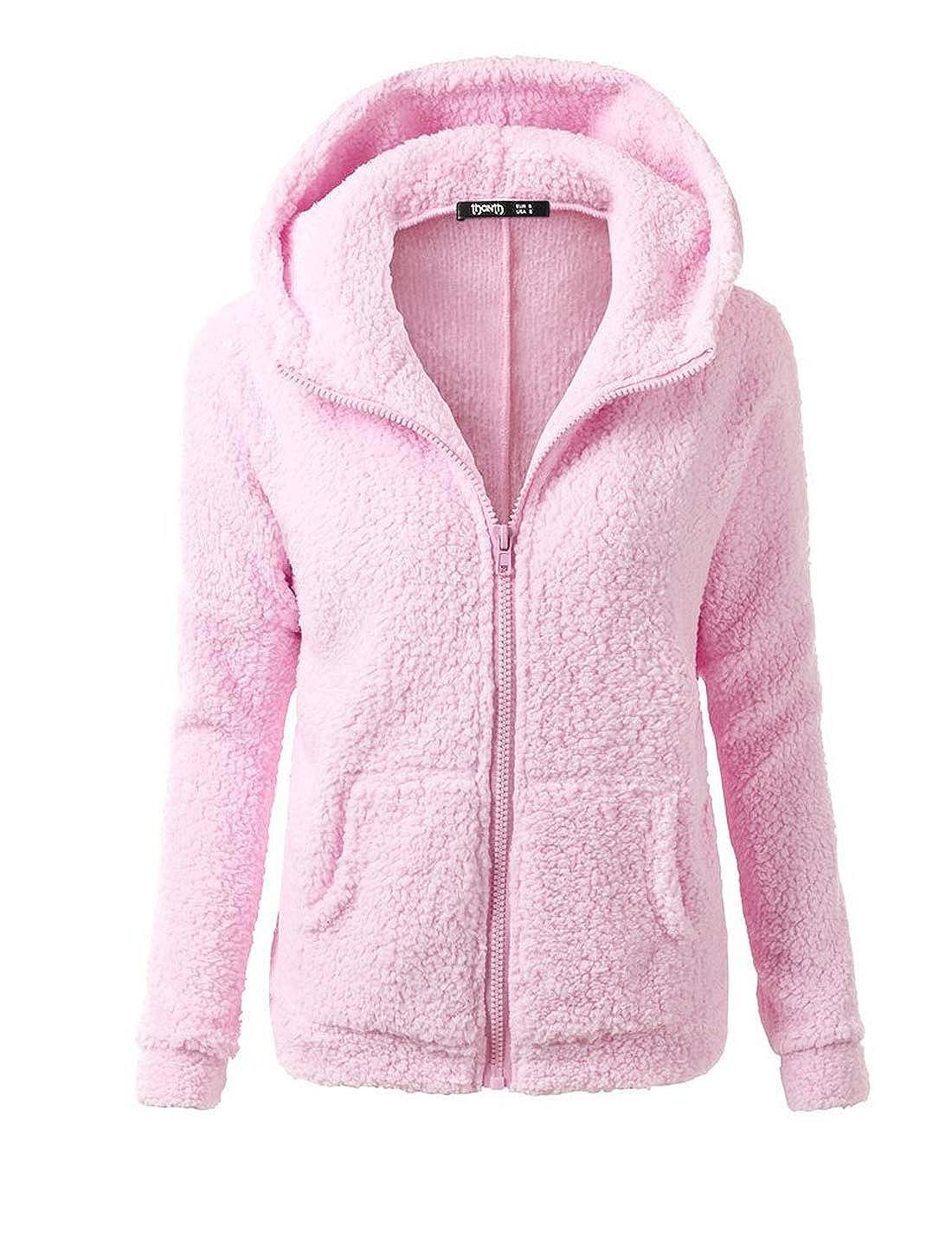 Naliha Womens Fuzzy Jackets Coat Hoodie Zip Fleece Jacket Outerwear Plus Size